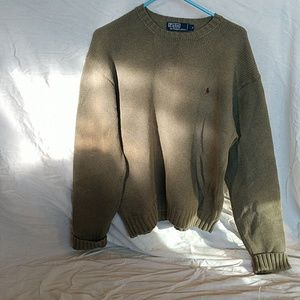 Olive Cotton Polo Sweater